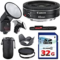 Canon EF 40mm f/2.8 STM Lens Bundle + Commander UV Filter + Polarizer Filter + 2 In 1 Lens Cleaning Pen + High Speed 32GB Memory Card + Tulip Hood + Manual Flip Flash + Deluxe Lens Case