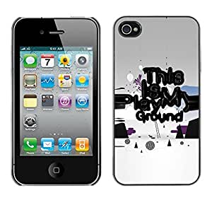 LASTONE PHONE CASE / Slim Protector Hard Shell Cover Case for Apple Iphone 4 / 4S / Play Ground Quote Slogan Art Funny Power