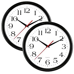 UrbanWare 2 Pack Silent Decorative 10 Wall Clock - Quartz Sweep - Easy to Read - Round Black Frame - Battery Operated - White Face - 10 Inch