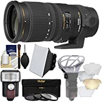 Sigma 70-200mm f/2.8 APO EX DG OS HSM Zoom Lens with 3 Filters + Flash + Soft Box + Diffuser Kit for Nikon Digital SLR Cameras