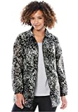 Woman Within Women's Plus Size Nylon Jacket, Zip Front Style Dark Charcoal Shadow Floral,5X