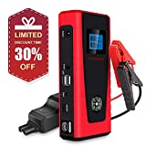 PUSHIDUN Car Jump Starter 600A 12000mA Auto Battery Booster for 4L Petrol & 2L Diesel Engines with Smart Cable 2 USB Outputs 3 Modes LED Flashlight and Compass