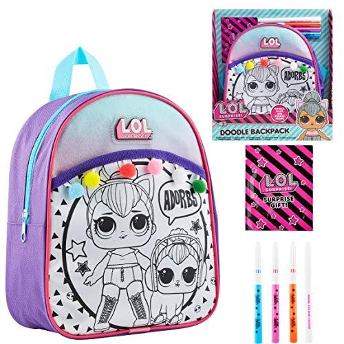 L.O.L. Surprise! Mochila Niña para Colorear, Kit Manualidades Niños con Muñecas LOL Kitty Queen, Incluye Rotuladores de…