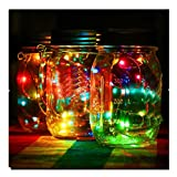 Euone LED Fairy Light Solar Powered For Mason Jar Lid Insert Color Changing Garden Decor (Multicolor)
