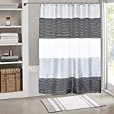 Black and Grey Shower Curtain juyou Shower Curtain Mildew Resistant Waterproof,Stripes Polyester Fabric for Bathroom Showers and Bathtubs,Light Turquoise & Black & White,72