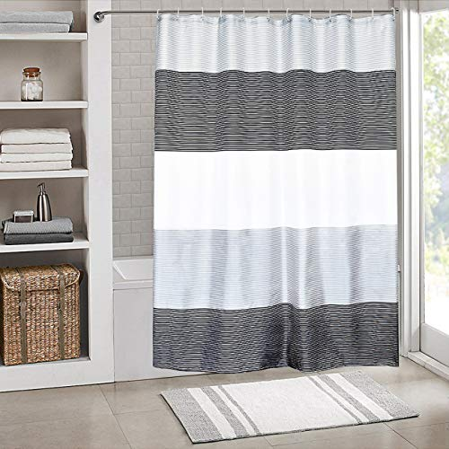 SHE'S HOME Shower Curtain Set Waterproof,Stripes Polyester Fabric for Bathroom Showers and Bathtubs,Grey & Black & White,72