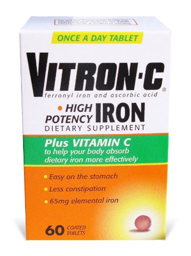 Vitron-C High Potency Iron Supplement with Vitamin C, 60 Count, Health Care Stuffs