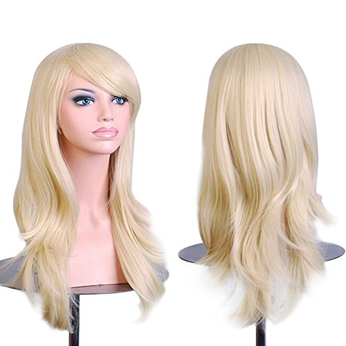 Blonde Cosplay Wigs Long 28 inch Wavy Curly Halloween Costume Anime Cosplay Wig With bangs