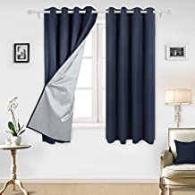 Deconovo Navy Blue Thermal Insulated Blackout Curtains Grommet Curtains with Silver Coating for Kids Bedroom 52 By 63 Inch Navy Blue 2 Panels