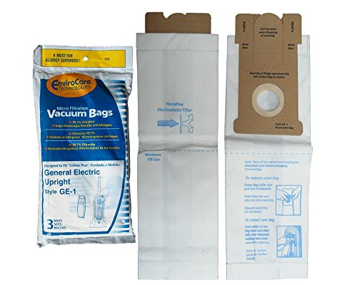 - 3 General Electric Eureka GE-1 Upright Style Microfiltration Vacuum Cleaner Bags