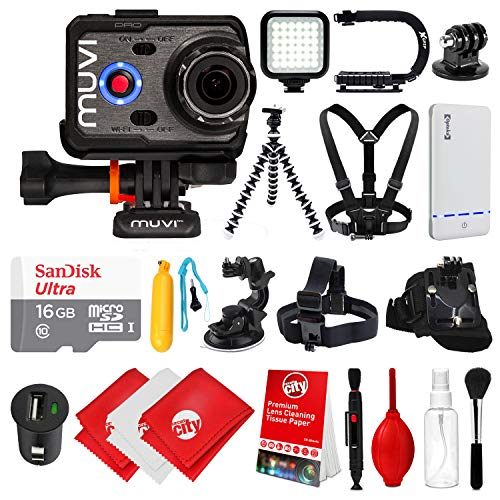 Veho Muvi K2 PRO Action Camera 4K with 16GB Card + Floating Handle + Flexible Tripod + Head/Chest/Wrist Strap + Car Mount + Opteka X-Grip + LED Light + Car Charger with Kit