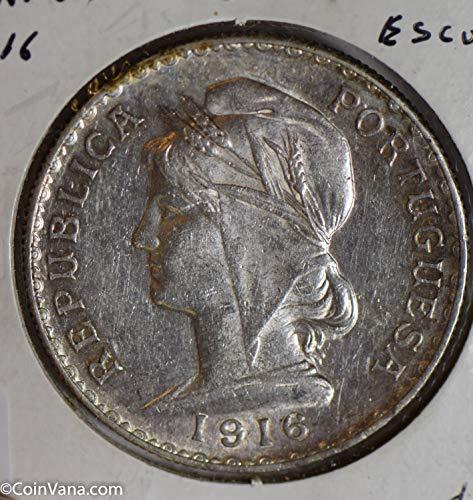 - 1916 PT P0252 Portugal Escudo lustrous silver DE PO-01