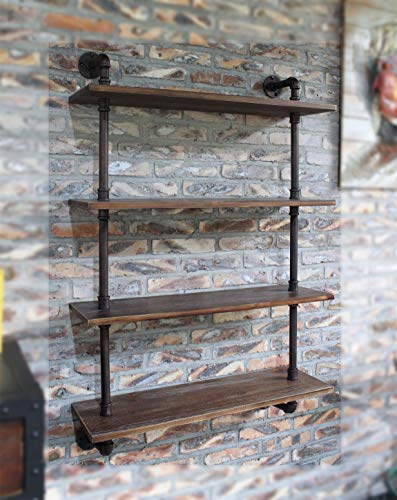 LOKKHAN 31.5-Inch Industrial Pipe Shelves,Wall Mounted Metal Pipe Wood Shelf,Rustic Pipe Ladder Bookshelf Bookcase,DIY Open Pipe Shelving