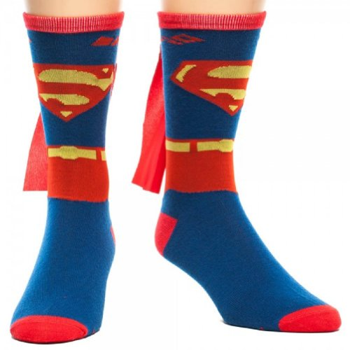 Suit Up Blue Superman Crew Socks with a Cape