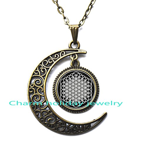 Crescent Moon Necklace Dainty and Delicate Necklace,Bring Me The Horizon Sempiternal Flower of Life Pendant Necklace]()