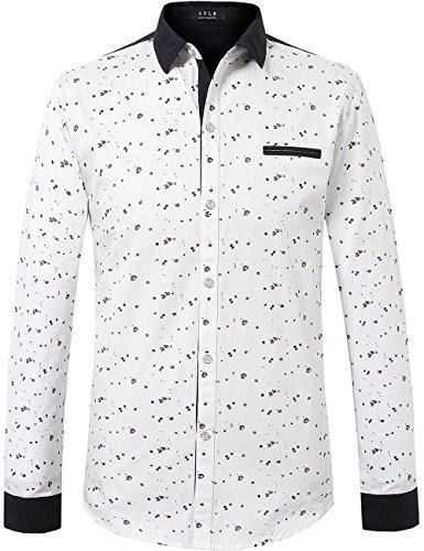 SSLR Men's Printing Pattern Button Down Casual Short Sleeve Shirts