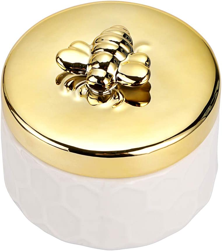 Hipiwe Ceramics Jewelry Box with Golden Bee Lid - Small Jewelry Display Organizer Holder Trinket Storage Tank Container for Home Decor,Gift for Girls Women