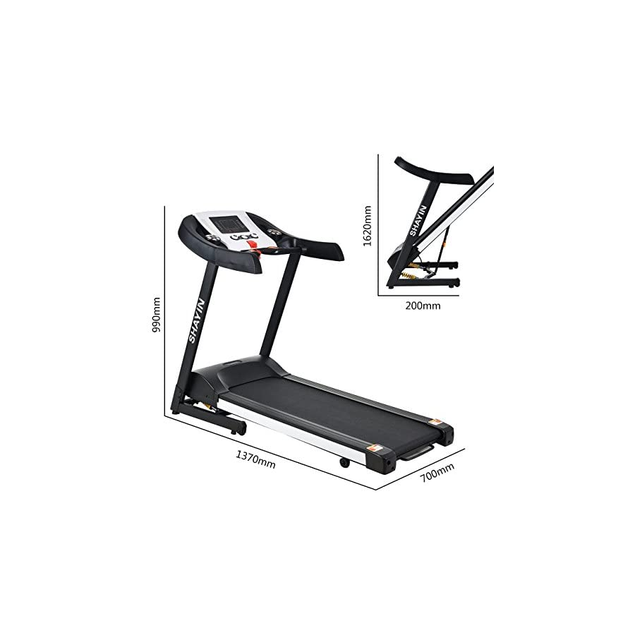 Shayin 2.0HP Folding Electric Treadmill Easy Assembly Power Motorized Running Fitness Jogging Machine 3 manual programs, 12 automatic programs, 1 FAT program with Rolling Wheels (US Stock)