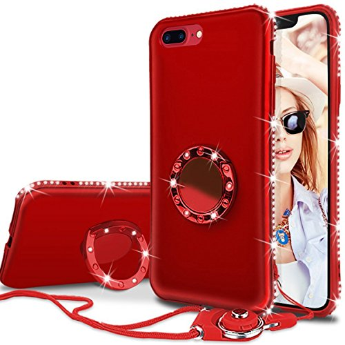 WATACHE Case Compatible iPhone 8 Plus/7 Plus 5.5, Bling Sparkly Diamond Kickstand Ring Holder Slim Full Body Protective Cover with Tempered Glass Screen Protector + Lanyard for Girl Women(Red)
