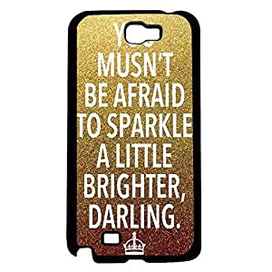 """""""You Musn't Be Afraid to Sparkle a Little Brighter Darling"""" on Gold and Bronze Glitter Background Hard Snap on Phone Case (Note 2 II)"""