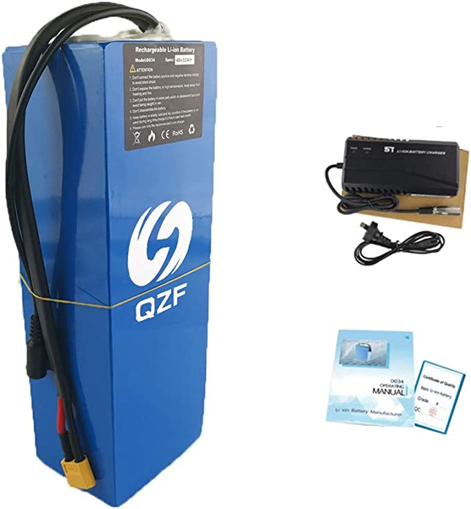 QZF 36V 20AH Ebike Battery Waterproof PVC Lithium Battery Pack with Charger and 20A BMS Protection for 500W 300W 350W 250W Bike Motor Mountain Bike