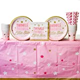 Cedar Crate Market One Little Star Girl Supply Pack for 16 Guests: Straws, Dinner Plates, Luncheon Napkins, Cups, Tablecover