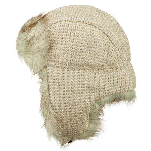 Women's Crocheted Knit Trooper Hat - Beige OSFM