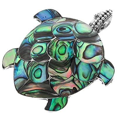 "Shell Turtle Paua Abalone 925 Sterling Silver Brooch Pendant, 1 7/8"""
