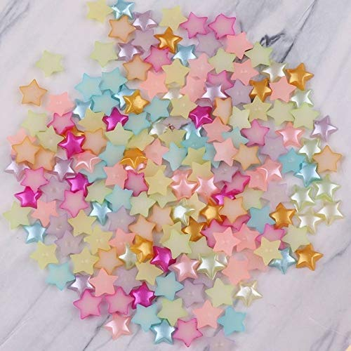 Triangle-Box - 100pcs/lot 10mm Mix Color Half ABS Imitation Pearl Beads Star Shape Flat Back Scrapbook Craft DIY Jewelry Findings