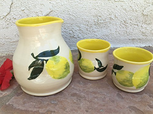Limoncello Shot Glass and Pitcher set handmade ceramic shot glasses, hand painted (Hand Painted Jug)