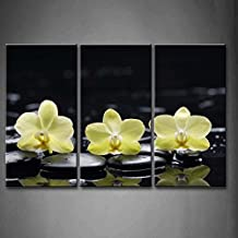First Wall Art - 3 Panel Wall Art Yellow Orange Still Life With Pebbles And Three Orchid Painting Pictures Print On Canvas Flower The Picture For Home Modern Decoration piece (Stretched By Wooden Frame,Ready To Hang)