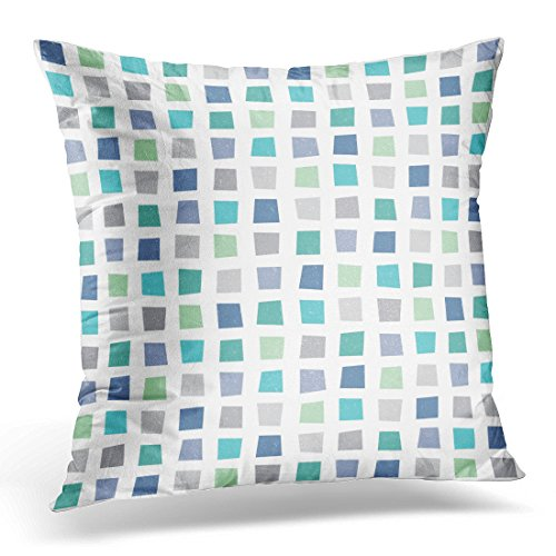 Breezat Throw Pillow Cover Hipster Geometric with Polygons in Aqua Blue Green Navy Masculine for Boys Baby Textiles and Light Decorative Pillow Case Home Decor Square 18x18 Inches Pillowcase