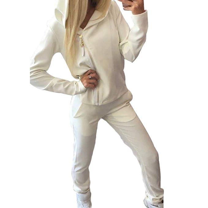Moda Mujer Primavera Otoño Deportes Encapuchados Chaquetas Cremallera Manga Larga Casual Pantalones Rectos Color Puro con