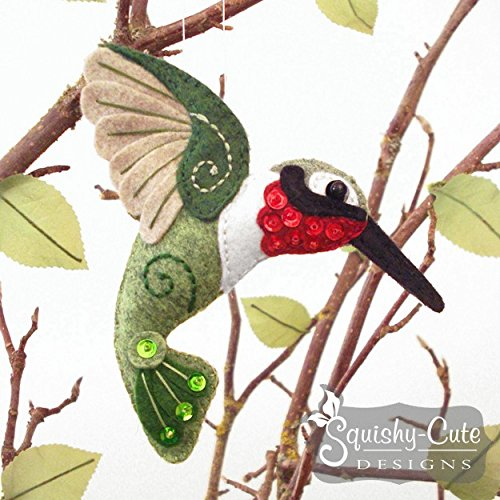 Hummingbird Sewing Pattern - Bird Ornament Felt Plushie Pattern & Tutorial - Backyard Birds Craft - Tutorial Felt Christmas