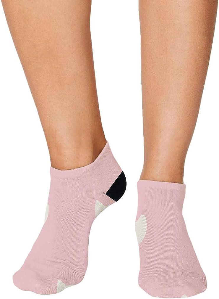 White And Pink Pitter Pattern #9 Men-Women Adult Ankle Socks Novelty Socks