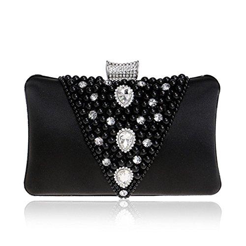 Chain Messenger Dress Shoulder Black Rhinestone Bag Vintage Bag Clutch Faux Ladies Bag Pearl Evening Small Women's 8PYqUg