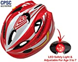 Cheap Kids Bike Helmet – Adjustable from Toddler to Youth Size, Ages 3 To 7 – Durable Kid Bicycle Helmets with Fun Racing Design Boys and Girls will LOVE – CSPC Certified for Safety (White Red With Light)