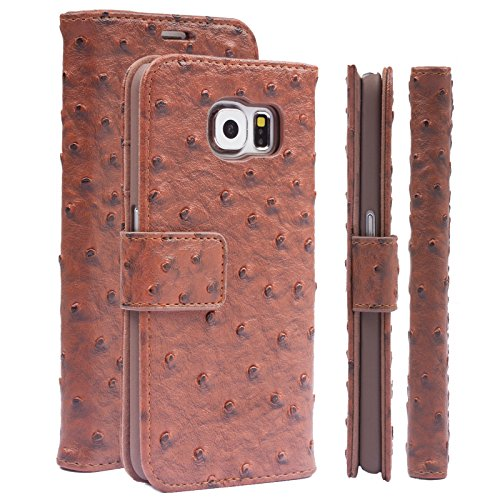 - iCues | Compatible with Samsung Galaxy S6 Case | Ostrich brown | Maraba Wallet | other Leather - and color variations available | Protective cover with Card Slots - Kickstand and Gift Box | Flip Folio