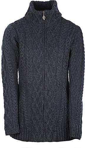 (Ladies Irish Zipper Wool Cardigan (Large, Derby))