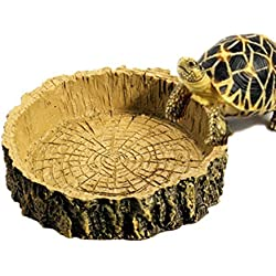 Zeroyoyo Vintage Reptile Supplies Tortoise Amphibians Gecko Snakes Lizard Resin Water Dish Food Bowl Toy