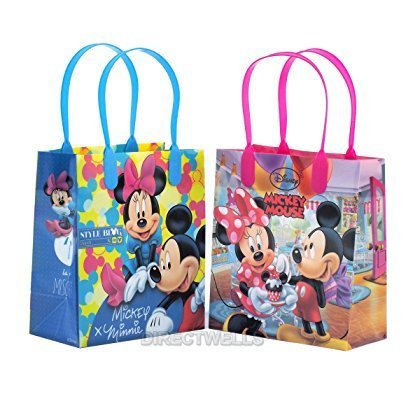 Disney Mickey and Minnie Mouse Reusable Premium Party Favor Goodie Small Gift Bags 12 (12 Bags) ()
