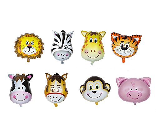 Zoo Animal Head Balloon kid Happy Birthday Party Set of 8 Pack Mylar Foil Helium Reusable Ballons 4 Congratulation Decoration Anniversary Festival Graduation Bouquet Gift Idea Engagement Celebration -