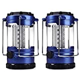 FXTXYMX Portable Collapsible Outdoor Camping Lantern with LED Flashlight for Outdoor Hiking Emergency Outages Tent Light Waterproof-Blue (Not provided 3 AA Batteries) (2 pack)