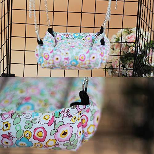 DENTRUN Pet Cage Hammock Polyester Polka, Small Animal Dog Puppy Cat Kitty Hanging Hammock Bed Sleepy Pad,for Guinea-Pig Chinchilla Rabbits -
