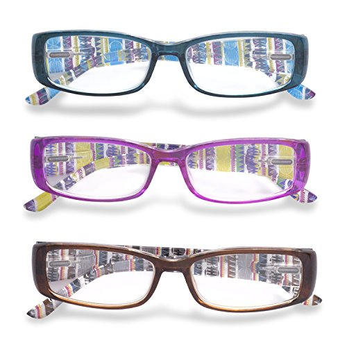 Inner Vision Women's 3-Pack Printed Stripe Reading Glasses Set w/ Spring Hinges - (3.0 x Magnification) - Purple, Blue, & Brown Stripe Reading Glasses