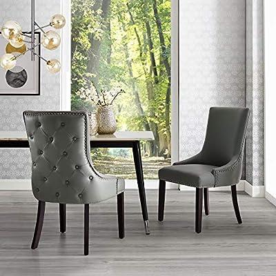 Inspired Home Leather/Velvet/Linen Dining Chair - Design: Oscar   Set of 2   Back Tufted   Nailhead Trim Finish