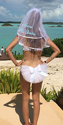 Bridal Shower Gift, Booty Veil and Hair Veil (Booty Cover, Bikini Veil, Butt Veil) PERSONALIZED 2 piece set by SashANation