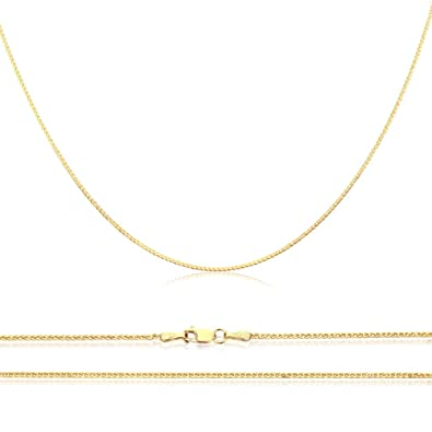 d2276e76da8b Double Accent 14K Yellow Gold Chain 0.8mm Solid Gold Braided Spiga Wheat Chain  Necklace (