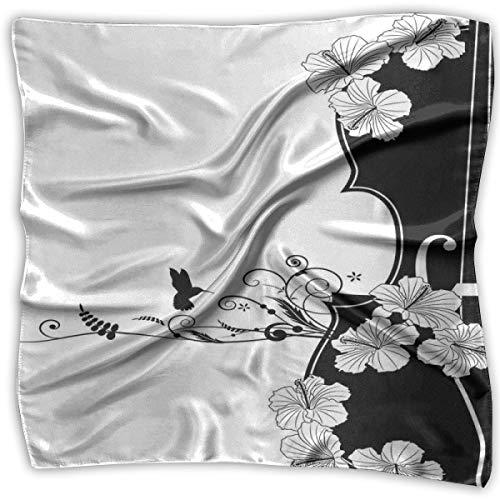 Scrolled Band - Bandana Head and Neck Tie Neckerchief,Flower Musical Composition With Bird Scrolled Lily Petals Nature Growth,Headband