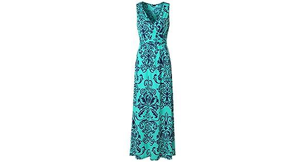 61e18a4a9f71 Zattcas Womens V Neck Sleeveless Maxi Dress Casual Empire Floral Maxi Dress  (X-Large, Navy White)